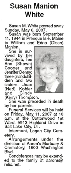 Susan Ann Manion White Deceased Pleasant View Ut